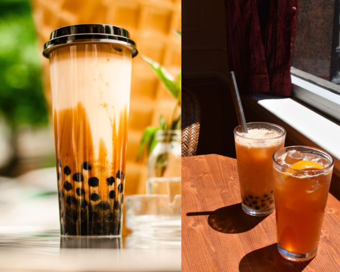 two photos one of a milky bubble tea with tapioca pearls and another with two glasses of cold iced lemon tea on a table